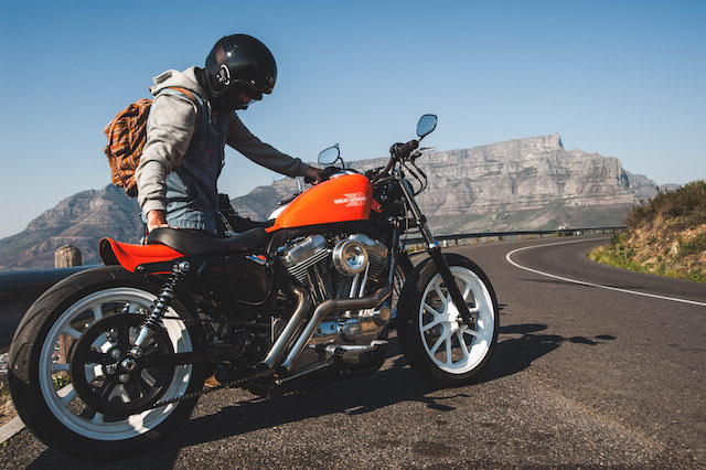 The Wolf Moto custom Harley Davidson Sportster 883. Table Mountain seen in the distance.